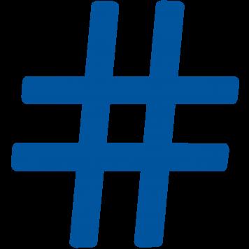 Blaues Hashta-Symbol