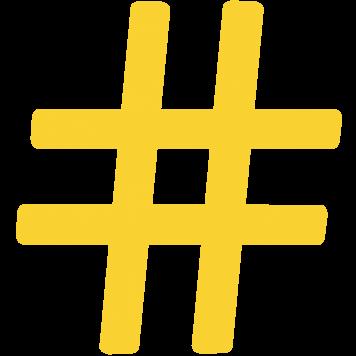 Gelbes Hashtag-Symbol