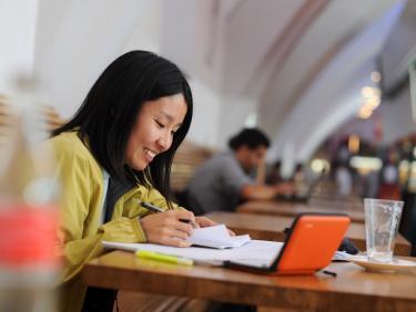 Student at Marstall-Dining hall