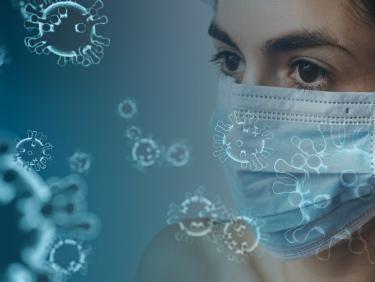 Coronavirus und Person mit Maske